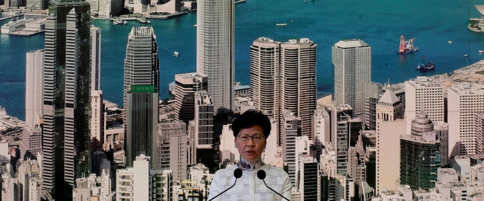 Hong Kongs Chief Executive Carrie Lam speaks at a press conference, Saturday, June 15, 2019, in Hong Kong. Lam said she will suspend a proposed extradition bill indefinitely in response to widespread public unhappiness over the measure, which would