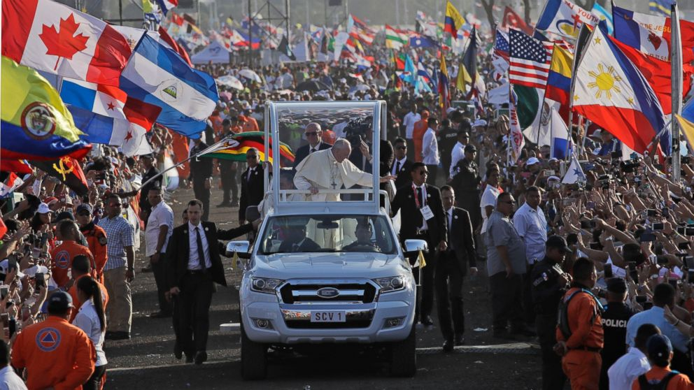 Pope Francis waves from his popemobile as he arrives to celebrate an early morning Mass at the metro park Campo San Juan Pablo II in Panama City, Sunday, Jan. 27, 2019. The Mass marks the formal end to World Youth Day, the once-every-three year religious festival that John Paul launched during his quarter-century pontificate. (AP Photo/Alessandra Tarantino)