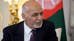 Afghanistan's President Ashraf Ghani speaks with British Prime Minister Theresa May at the start of their meeting inside 10 Downing Street in London, Monday, June 17, 2019. (AP Photo/Matt Dunham, Pool)