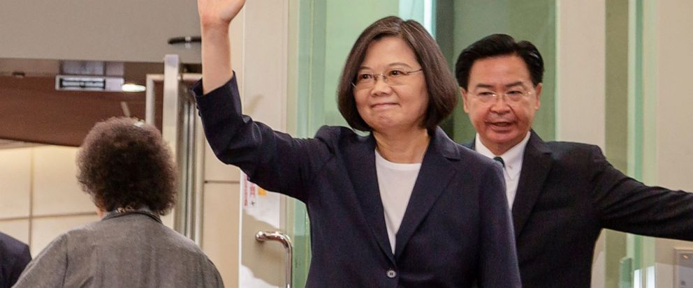 FILE - In this Thursday, July 11, 2019, file photo released by the Taiwan Presidential Office, Taiwanese President Tsai Ing-wen waves as she leaves for the Caribbean from Taoyuan International Airport in Taoyuan, Taiwan. China said Friday, July 12, 2