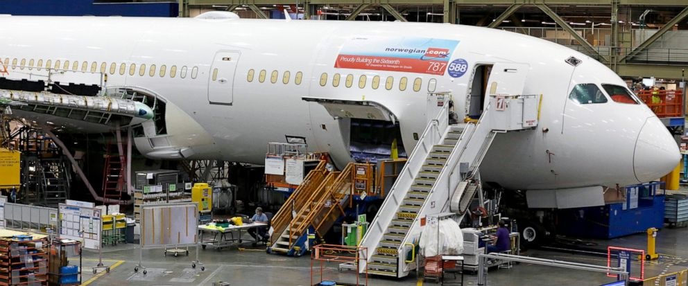 FILE - This June 12, 2017, file photo shows a Boeing 787 being built for Norwegian Air Shuttle at Boeing Co.s assembly facility in Everett, Wash. Norwegian Air says its ending trans-Atlantic service between Ireland and three U.S. and Canadian airpo