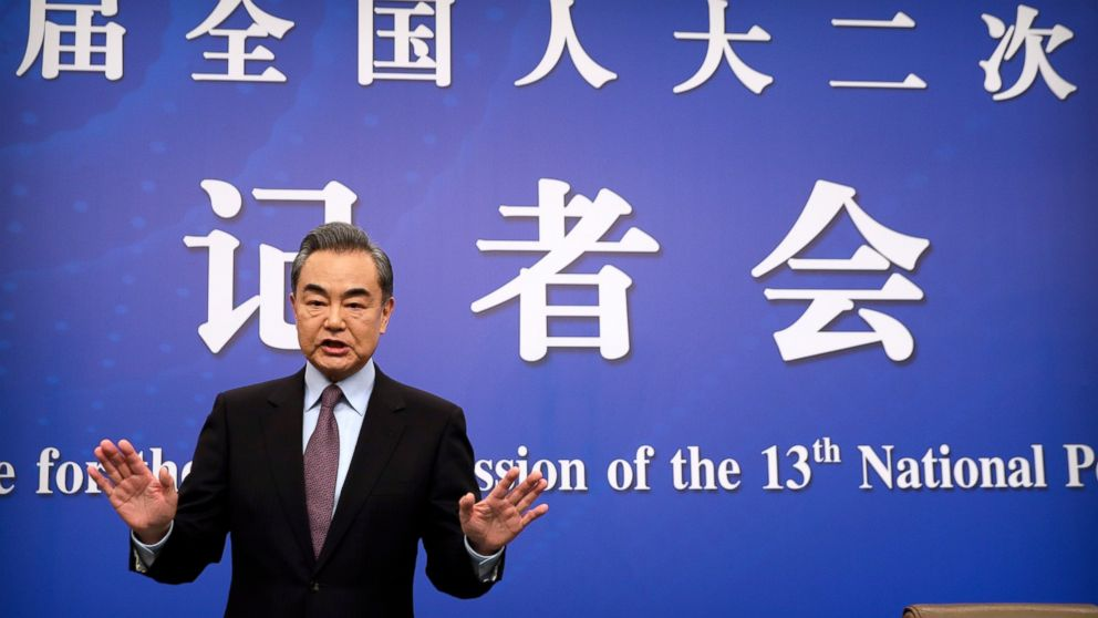 "Chinese Foreign Minister Wang Yi arrives for a press conference on the sidelines of the annual meeting of China's National People's Congress (NPC) in Beijing, Friday, March 8, 2019. The U.S.-North Korea summit in Vietnam last week was an ""important step"" toward denuclearization on the Korean peninsula, China's foreign minister said Friday. (AP Photo/Mark Schiefelbein)"