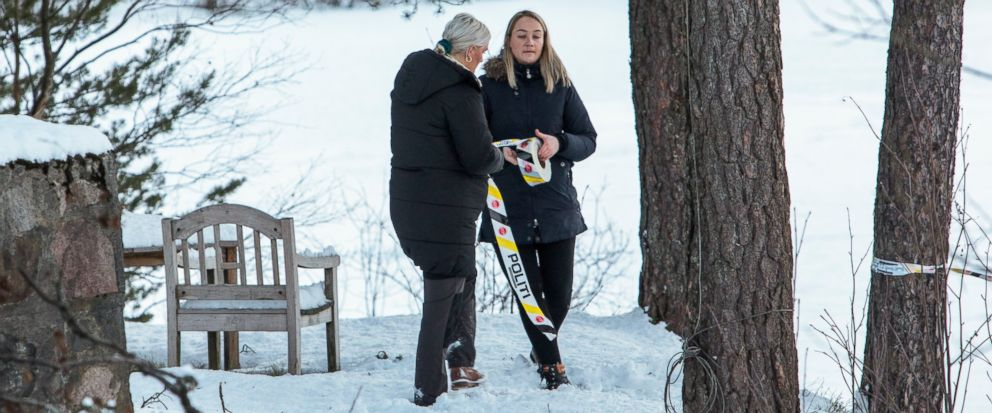 Police put up tape outside the home of missing woman Anne-Elisabeth Falkevik Hagen, the wife of one of Norways richest men, Tom Hagen, in Fjellhamar, Norway, Wednesday, Jan. 9, 2019. Norwegian police say the wife of one of Norways richest men may h