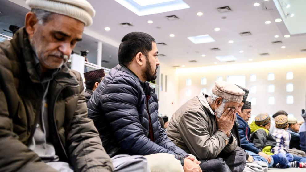 Members of Ahmadiyya Muslim Jama'at Canada gather at the Baitul Islam Mosque during a special prayer in in Vaughan, Ontario for the victims of the deadly attacks on mosques in New Zealand on Friday, March 15, 2019. (Christopher Katsarov/The Canadian Press via AP)