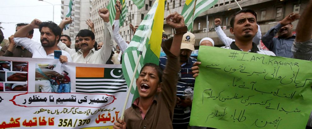 Supporters of a religious group Anjum-e-Tulba Islam chant anti-India slogans during a demonstration to condemn India and its decisions on Kashmir, in Karachi, Pakistan, Saturday, Aug. 10, 2019. Pakistan says that with the support of China, it will ta