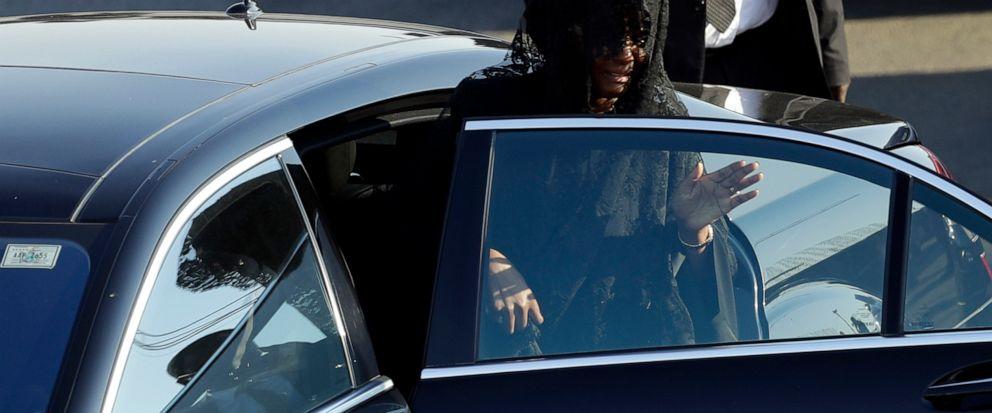 Grace Mugabe, widow of Robert Mugabe, gets into a car after a ceremony at the Robert Gabriel Mugabe International Airport in Harare, Zimbabwe, Wednesday, Sept. 11, 2019. (AP Photo/Themba Hadebe)