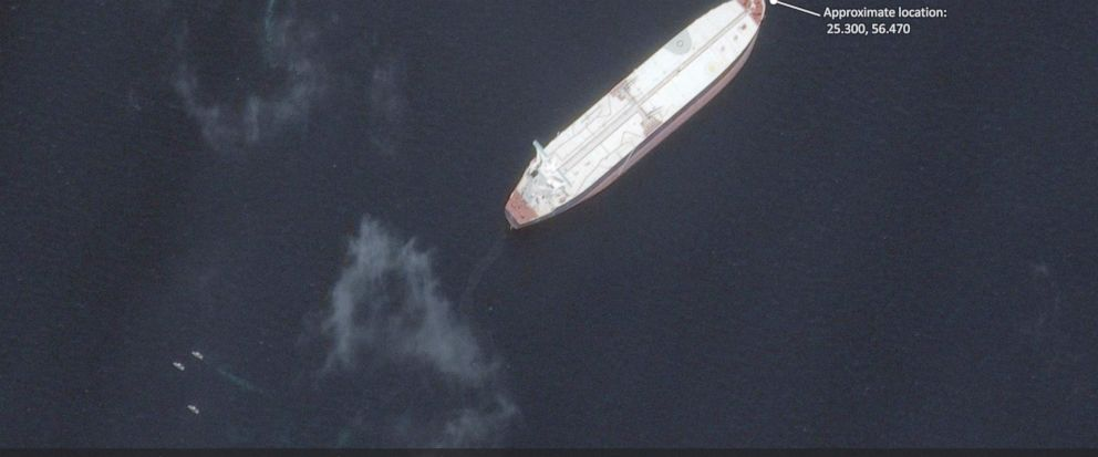 This satellite image provided by Maxar Technologies shows the Saudi-flagged oil tanker Amjad off the coast of Fujairah, United Arab Emirates, Monday, May 13, 2019. As many as four oil tankers anchored in the Mideast were damaged in what Gulf official