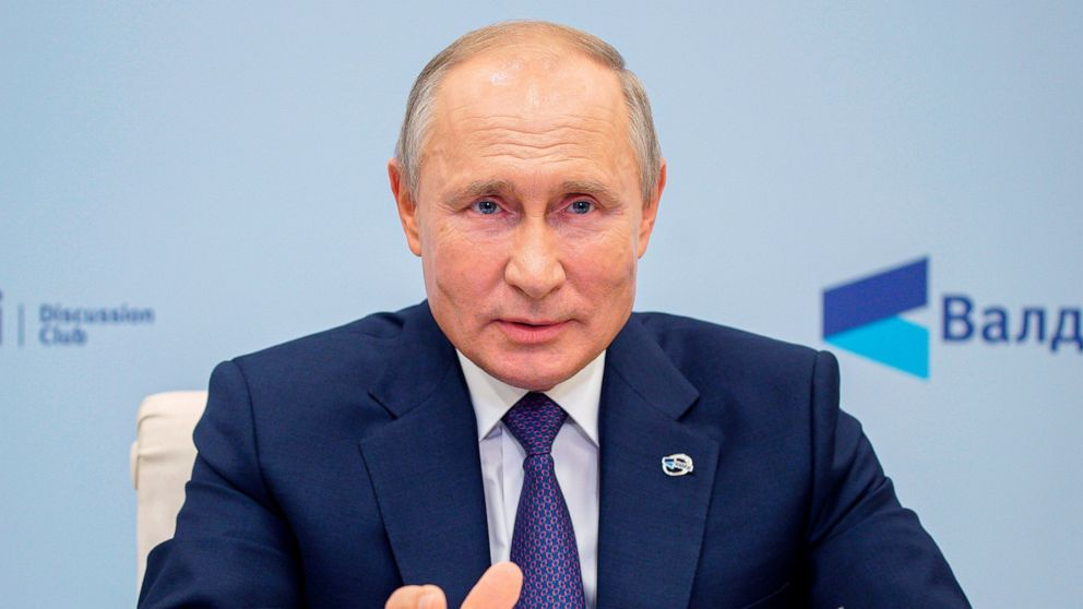 Russian President Vladimir Putin speaks as he participates in the annual meeting of the Valdai Discussion Club via video conference at the Novo-Ogaryovo residence outside Moscow, Russia, Thursday, Oct. 22, 2020. (Alexei Druzhinin, Sputnik, Kremlin Po