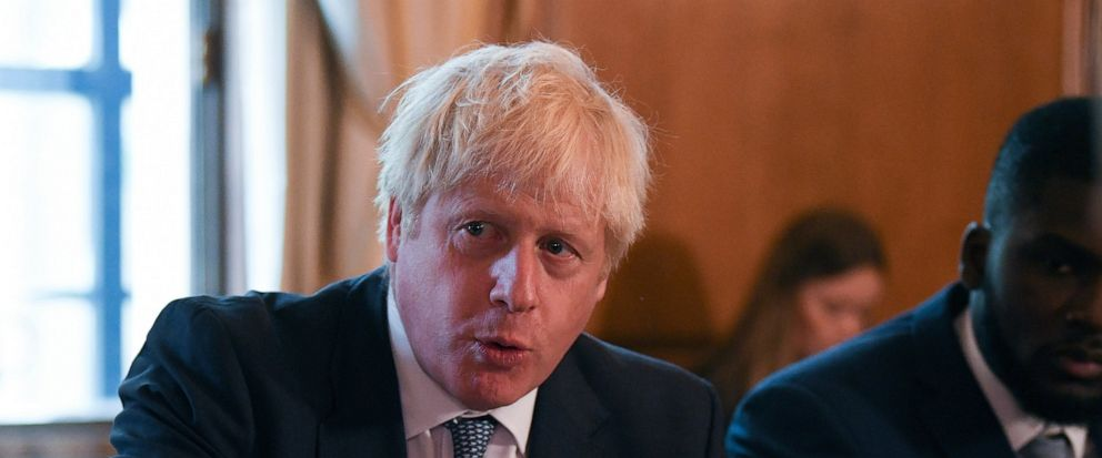 Britains Prime Minister Boris Johnson speaks during a roundtable to improve the criminal justice system, at 10 Downing Street in London, Monday, Aug. 12, 2019. (Daniel Leal-Olivas/Pool Photo via AP)