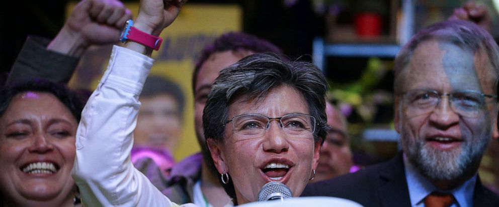 Claudia Lopez with the Green Alliance celebrates her election victory as mayor of Bogota, in Bogota, Colombia, Sunday, Oct. 27, 2019. Colombians went to the polls to choose mayors, state governors and local assemblies. (AP Photo/Ivan Valencia)