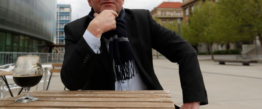 In this photo taken on Sunday April 28, 2019, Jan Zahradil, the leader of Alliance of Conservatives and Reformists in Europe, answers questions during an interview with The Associated Press in Prague, Czech Republic. Zahradil is hoping that voters em