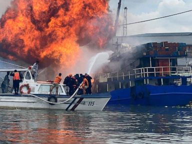 At least 6 injured in cargo ship fire at Manila wharf