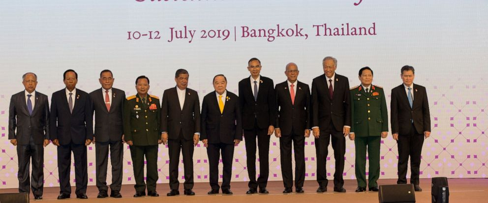 ASEAN defense ministers pose for a group photo ahead of the ASEAN Defense Ministers Meeting Thursday, July 11, 2019, in Bangkok, Thailand. They are, from left to right, are Bruneis Haji Awang Halbi bin Haji Mohd Yusof, Cambodias Tea Banh, Indonesi