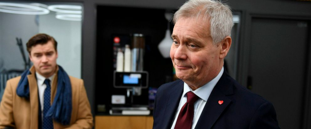 Social Democratic leader Party Antti Rinne speaks to the media at the Finnish Broadcasting Company Yle studios in Helsinki, Finland Monday morning, April 15, 2019. Results from Finlands parliamentary election illustrated the struggle by Europes tra