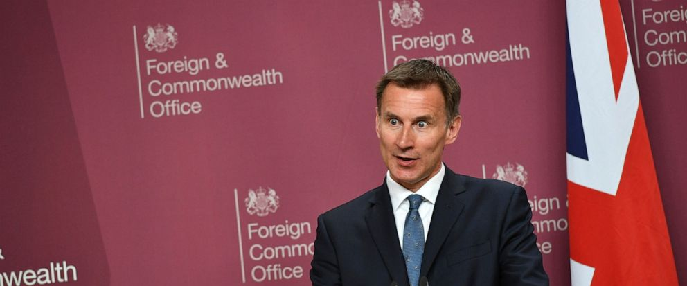 Britains Foreign Secretary Jeremy Hunt speaks during a joint press conference with US Secretary of State Mike Pompeo at the Foreign Office in central London, Wednesday May 8, 2019. U.S. Secretary of State Mike Pompeo is in London for talks with Brit
