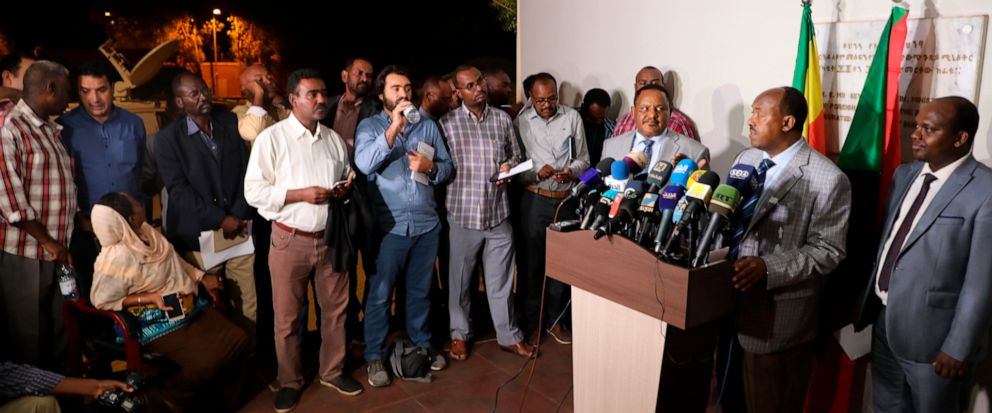 Special envoy of the Ethiopian Prime Minister Ambassador Mahmoud Dreir speaks to the press at the Ethiopian embassy, Khartoum, Sudan Tuesday, June 11, 2019 on the agreement to end the civil disobedience of the country between the forces of freedom an
