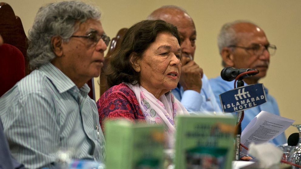 Pakistani human rights activist Nasreen Azhar, second left, addresses the audience at a launching ceremony for the report, State of Human Rights in 2018, in Islamabad, Pakistan, Monday, April 15, 2019. The independent Pakistani watchdog voiced its concern over increasing incidents of forced conversion of minority Hindu girls by Muslims to marry them, saying there is a need to stop this practice through legislation. (AP Photo/B.K. Bangash)