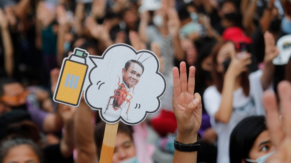 Pro-democracy activists display a placard with Thai Prime Minister Prayuth Chan-ocha's head attached to a cockroach during a protest outside remand prison, in which some of the activists are kept, in Bangkok, Thailand, Friday, Oct. 23, 2020. Thailand