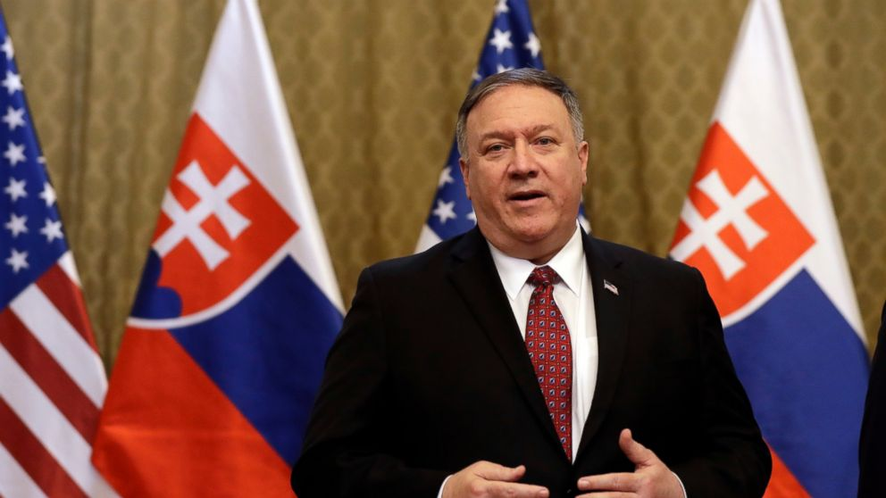 US Secretary of State Mike Pompeo addresses the media during his visit to Bratislava, Slovakia, Tuesday, Feb. 12, 2019. Pompeo is in Slovakia on the second leg of a five-nation European tour that began in Hungary and will take him to Poland, Belgium and Iceland. (AP Photo/Petr David Josek)
