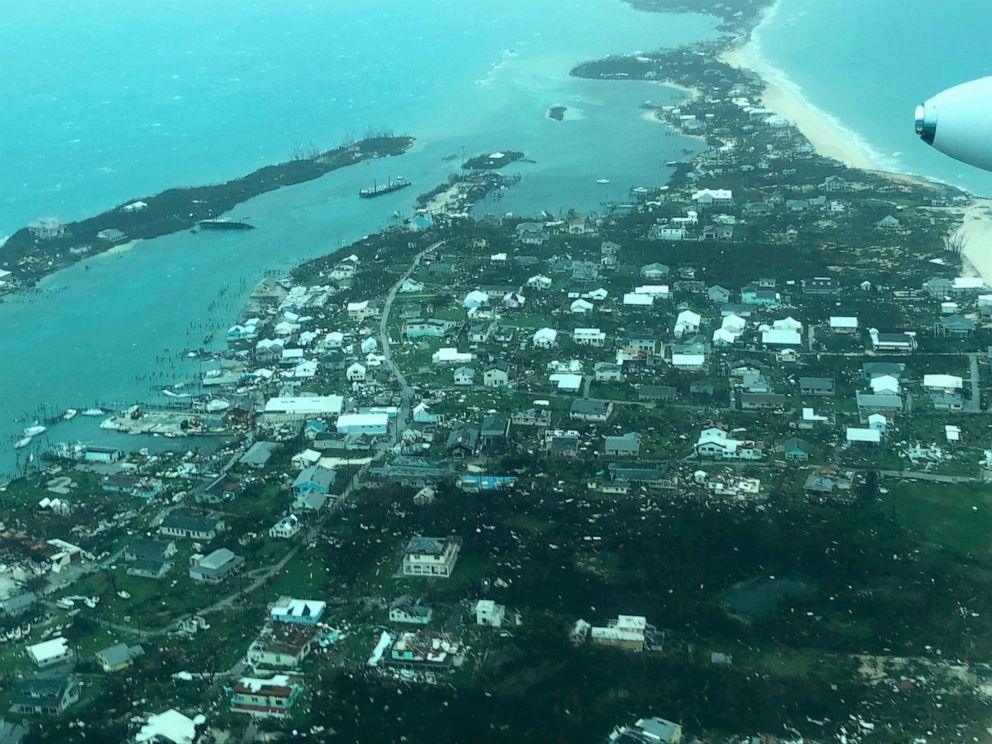 This aerial photo provided by Medic Corps, shows the destruction brought by Hurricane Dorian on Man-o-War Cay, Bahamas, Tuesday, Sept.3, 2019. Relief officials reported scenes of utter ruin in parts of the Bahamas and rushed to deal with an unfolding