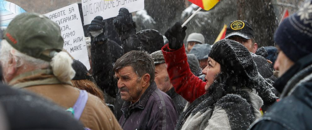 Opponents to the change of the countrys constitutional name protest outside the parliament building prior to a session of the Macedonian Parliament in the capital Skopje, Wednesday, Jan. 9, 2019. Macedonian lawmakers are entering the last phase of d