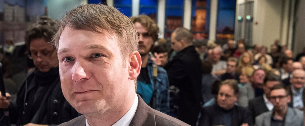 In this Friday, March 11, 2016, file photo, Andre Poggenburg, former regional party leader of the Alternative fuer Deutschland (AfD) in the German state Saxony-Anhalt, arrives prior an election campaign rally of his party in Magdeburg, Germany. Andre