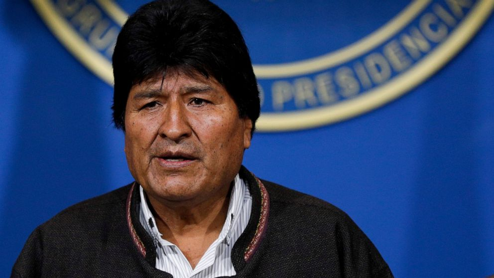 The Latest: Bolivia's president announces his resignation