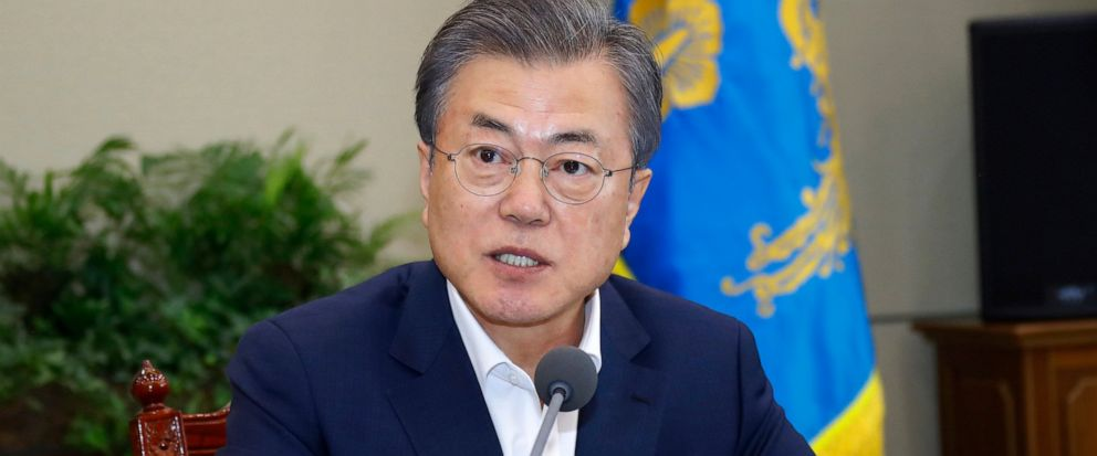 South Korean President Moon Jae-in speaks during a meeting with his aids at the presidential Blue House in Seoul, South Korea, Monday, April 15, 2019. Moon says hes ready for a fourth summit with North Korean leader Kim Jong Un to help salvage falte