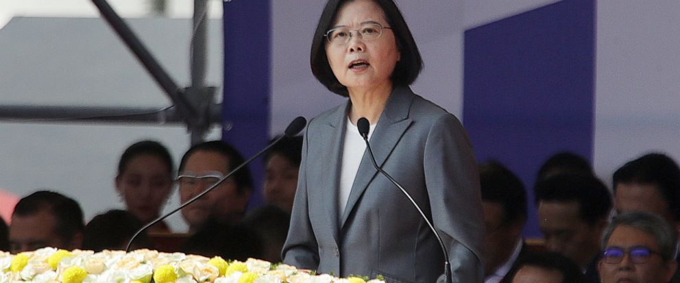 """Taiwan President Tsai Ing-wen delivers a speech during National Day celebrations in front of the Presidential Building in Taipei, Taiwan, Thursday, Oct. 10, 2019. In the national day address, President Tsai said China was threatening the island """"nons"""