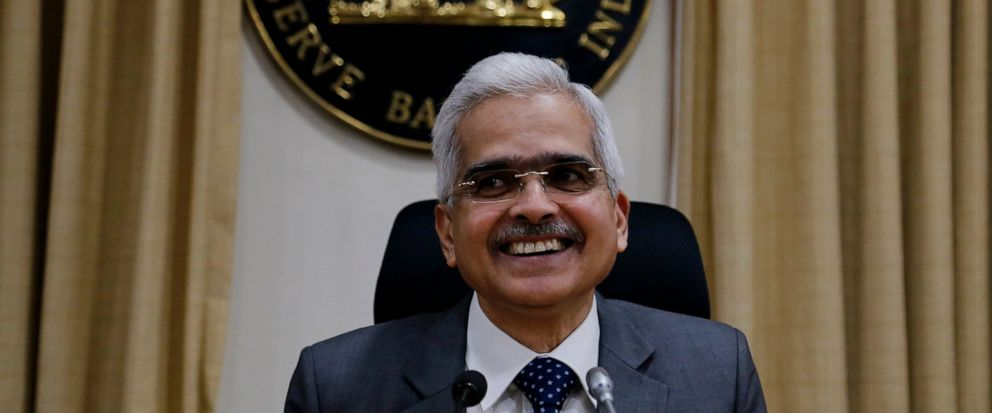Reserve Bank of India Governor Shaktikanta Das addresses a press conference in Mumbai, India, Friday, Oct. 4, 2019. Indias central bank has cut its key interest by a quarter of a percentage point to 5.15%, a fifth consecutive reduction, and has also