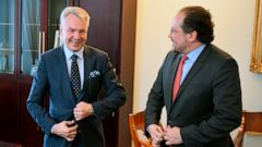 Finnish Foreign Minister Pekka Haavisto, left, meets with Austrian counterpart Alexander Schallenberg in Helsinki, Finland, on Monday June 24, 2019. (Jussi Nukari/Lehtikuva via AP)