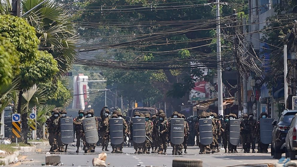 Myanmar police fire tear gas, rubber bullets at protesters