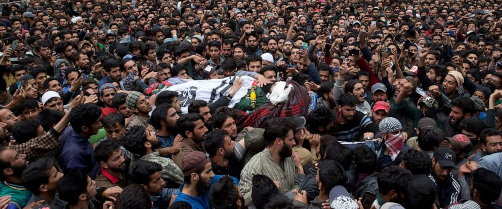 Kashmiri villagers carry body of top rebel commander Naseer Pandith, during his funeral procession in Pulwama, south of Srinagar, Indian controlled Kashmir, Thursday, May 16, 2019. Three rebels, an army soldier and a civilian were killed early Thursd