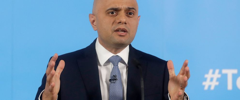 Conservative leadership contender and Britains Home Secretary Sajid Javid delivers a speech to launch his campaign to become the next Conservative prime minister, in London, Wednesday, June 12, 2019. (AP Photo/Kirsty Wigglesworth)