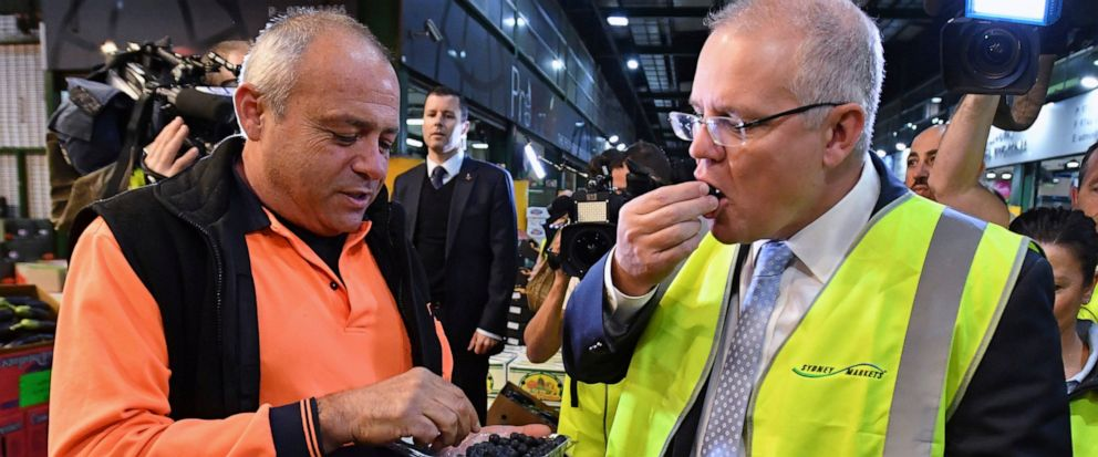 Australian Prime Minister Scott Morrison, right, eats a blueberry during a visit to markets in Sydney, Thursday, May 16, 2019. A federal election will be held in Australian on Saturday May 18, 2019. (Mick Tsikas/AAP Image via AP)