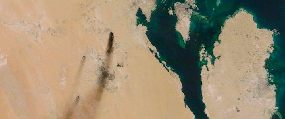 This Saturday, Sept. 14, 2019, satellite image provided by NASA Worldview shows fires following Yemens Houthi rebels claiming a drone attack on two major oil installations in eastern Saudi Arabia. The drones attacked the worlds largest oil processi