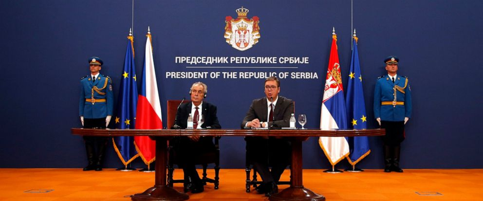 Czech Republics President Milos Zeman, front left, listens his Serbian counterpart Aleksandar Vucic during a press conference after a meeting at the Serbia Palace in Belgrade, Serbia, Wednesday, Sept. 11, 2019. Zeman is on a two-day official visit t