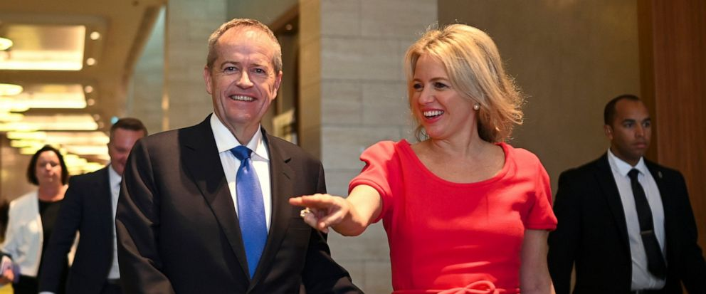 """Australian Labour Party leader Bill Shorten, center left, and his wife Chloe Shorten depart the """"Leadership Matters"""" breakfast event in Perth, Australia, Wednesday, May 15, 2019. A federal election will be held in Australia on Saturday, May 18. (Luka"""