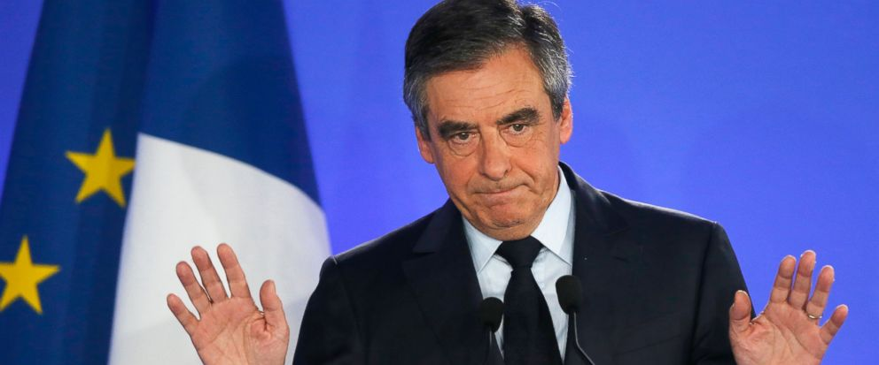 FILE - In this Sunday, April 23, 2017 file photo, French conservative presidential candidate Francois Fillon addresses his supporters in Paris. A French judicial official on Friday, Jan. 11, 2019 says the financial prosecutor's office has asked that