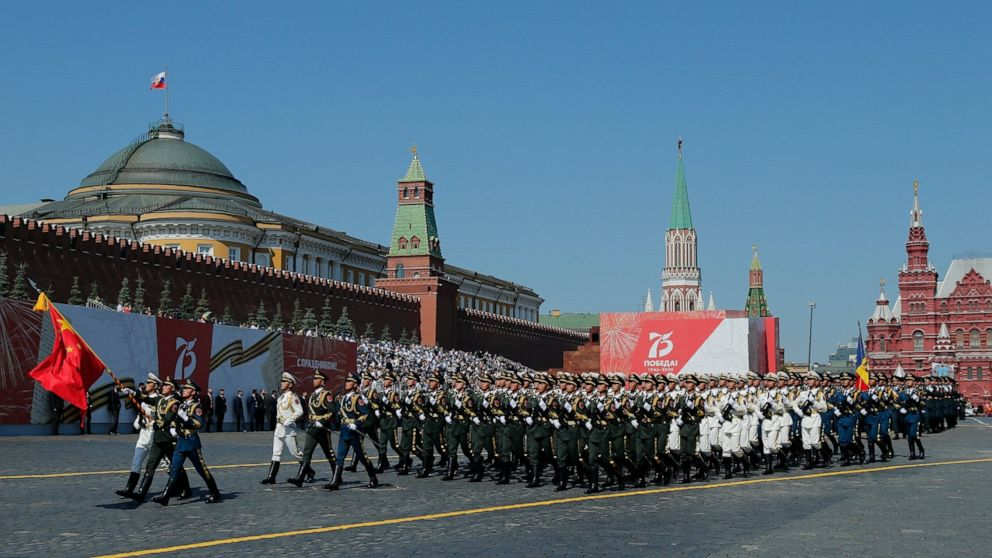 FILE - In this June 24, 2020 file photo, soldiers from China's People's Liberation Army march toward Red Square during the Victory Day military parade marking the 75th anniversary of the Nazi defeat in Red Square in Moscow, Russia. Chinese and Russia