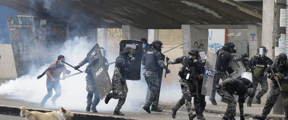 Anti-government demonstrators clash with police in Quito, Ecuador, Friday, Oct. 11, 2019. Protests started last week after Ecuadors President Lenin Moreno ended fuel subsidies. The disturbances have spread from transport workers to students and then
