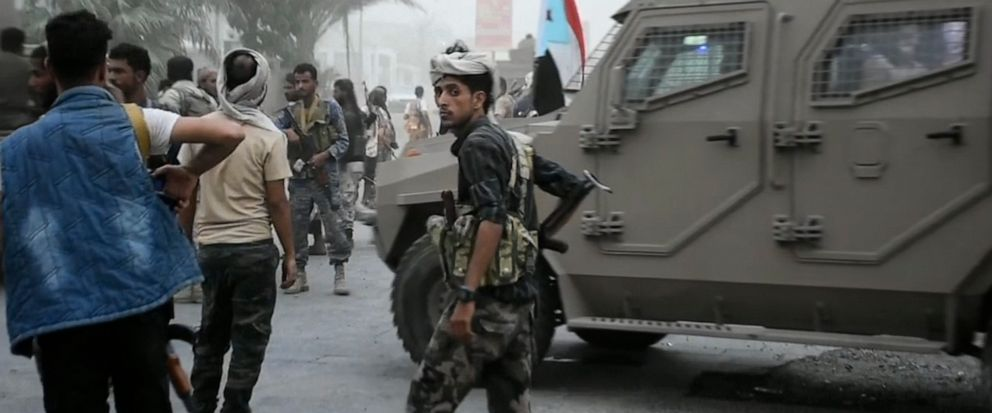 In this Friday Aug. 9, 2019 frame grab from video, Southern Transitional Council separatist fighters prepare to storm the presidential palace in the southern port city of Aden, Yemen. The separatists backed by the United Arab Emirates began withdrawi