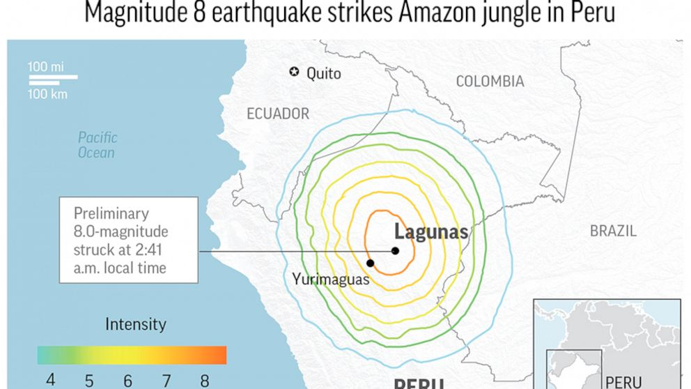 Magnitude 8 earthquake strikes Amazon jungle in Peru