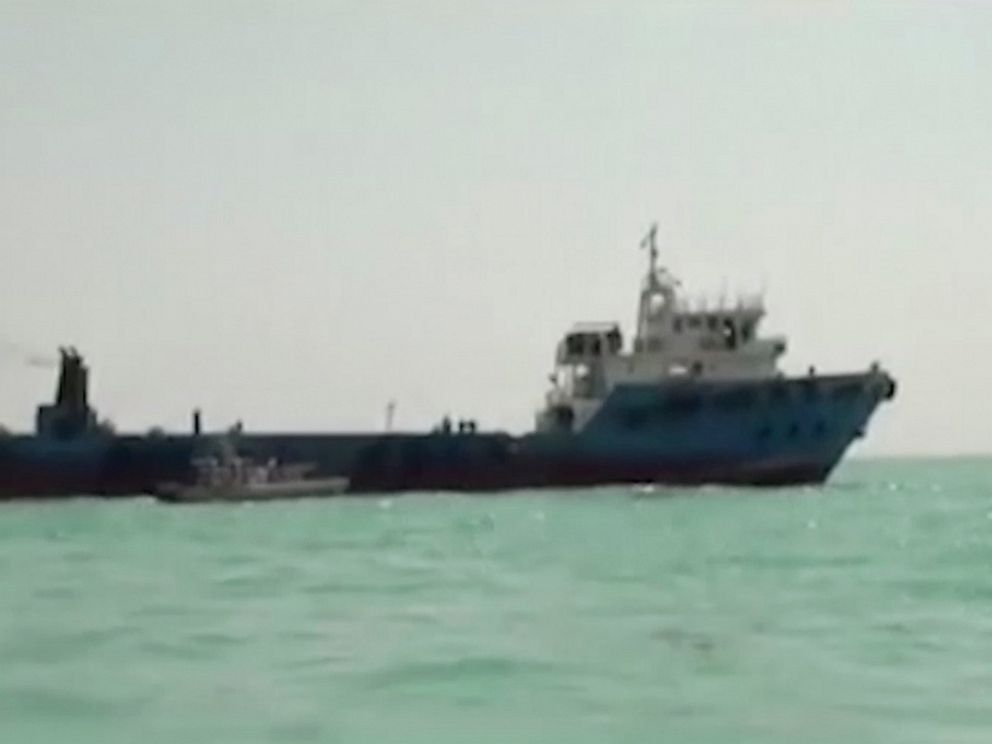 This undated image made from a video provided by the IRGC/IRIB shows a ship in the Persian Gulf. Iranian forces seized the ship, which it suspected of carrying smuggled fuel, state media reported Sunday, Aug. 4, 2019, marking the Revolutionary Guard