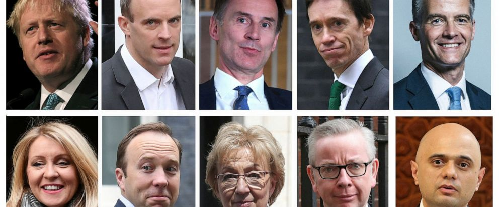 Combo group of ten file photos showing the contenders in the Conservative Party leadership race, with top row from left, Boris Johnson, Dominic Raab, Jeremy Hunt, Rory Stewart, Mark Harper, and bottom row from left, Esther McVey, Matt Hancock, Andrea