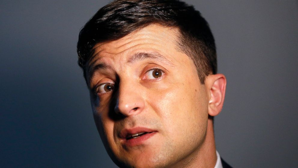 FILE In this file photo taken on Wednesday, Feb. 6, 2019, Ukrainian comedian and presidential candidate Volodymyr Zelenskiy speaks during his interview with The Associated Press, in Kiev, Ukraine. A comedian who is leading Ukraine's presidential election race has urged his supporters to propose candidates for top government jobs. Volodymyr Zelenskiy, who plays the nation's president in a popular TV series, called on his backers to suggest candidates for prime minister, foreign and defense ministers and other top officials. (AP Photo/Efrem Lukatsky, FIle)