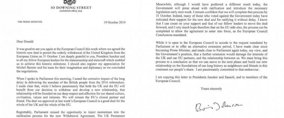In this image issued by 10 Downing Street, showing of a letter written by British Prime Minister Boris Johnson addressed to the European Council President Donald Tusk asking the European Union for a delay to Brexit Saturday Oct. 19, 2019. The British