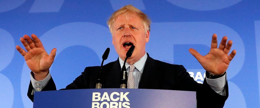 Britains Conservative Party lawmaker Boris Johnson gestures as he speaks during the official launch of his leadership campaign, in London, Wednesday June 12, 2019. Boris Johnson solidified his front-runner status in the race to become Britains next