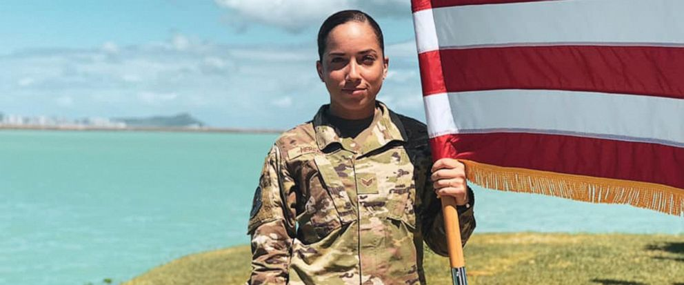 In this June 2019, photo, U.S. Air Force Senior Airman Xiara Mercado stands at Pearl Harbor, Hawaii. A Facebook post by Mercado, of Puerto Rico, drew wide attention when she described a recent encounter at a Honolulu Starbucks with a woman who compla