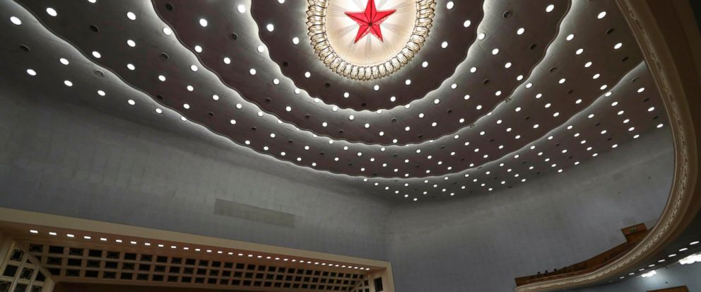 A military band plays the national anthem during the closing session of the National Peoples Congress in Beijings Great Hall of the People on Friday, March 15, 2019. (AP Photo/Ng Han Guan)